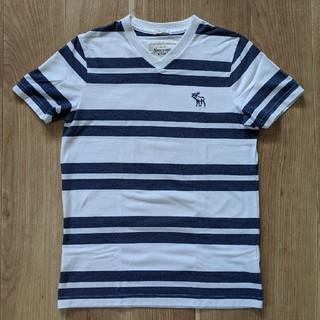 アバクロンビーアンドフィッチ(Abercrombie&Fitch)の【美品】アバクロ メンズ Tシャツ 白×紺(Tシャツ/カットソー(半袖/袖なし))