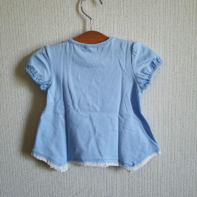 Acoba(アコバ)の新品紙タグ付きFlowerプリントTシャツ 80 水色 キッズ/ベビー/マタニティのベビー服(~85cm)(Tシャツ)の商品写真