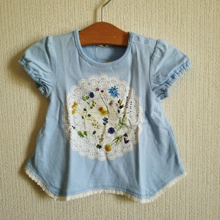 Acoba - 新品紙タグ付きFlowerプリントTシャツ 80 水色