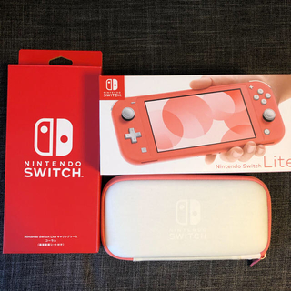 ニンテンドースイッチ(Nintendo Switch)のNintendo Switch LITE コーラル+キャリングケース(家庭用ゲーム機本体)