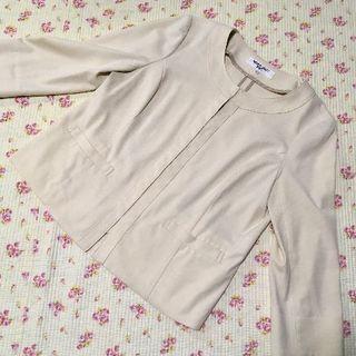 NATURAL BEAUTY BASIC - ノーカラー ジャケット L 春夏 薄手 洗濯可 涼しい