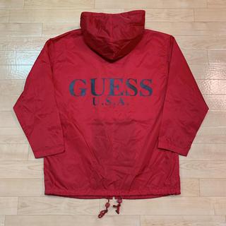 ゲス(GUESS)の90's GUESS ゲス ナイロン ジップ パーカー ジャケット 赤 S 込み(ナイロンジャケット)