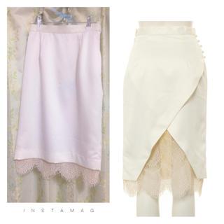デイシー(deicy)のサテン×レースタイトスカート(ひざ丈スカート)
