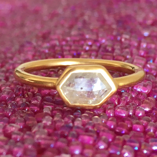 K18 天然 ナチュラル ダイヤモンド リング インドジュエリー (リング(指輪))