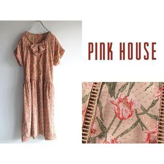 ピンクハウス(PINK HOUSE)の希少 ビンテージ ピンクハウス チューリップ柄 ドビードット リボン ワンピース(その他)