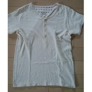 ヴィスヴィム(VISVIM)のvisvim(ビズビム) 古布パッチヘンリーネックTシャツ 表示サイズ:1(Tシャツ/カットソー(半袖/袖なし))