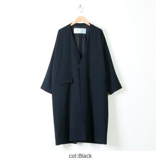 ドゥルカマラ(Dulcamara)のDulcamara(20SS)よそいきハーフカラーロングコート (black)(ステンカラーコート)