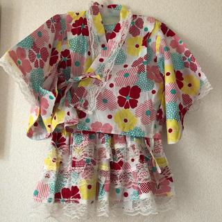 シマムラ(しまむら)の新品未使用 タグ付き バースデイ 浴衣 3点セット 90cm ピンク 女の子(甚平/浴衣)