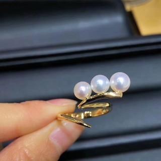 【Newデザイン】天然あこや真珠 三粒リングk18(リング(指輪))