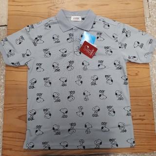 スヌーピー(SNOOPY)の新品タグ付き グレー 総柄 スヌーピー ポロシャツ(ポロシャツ)