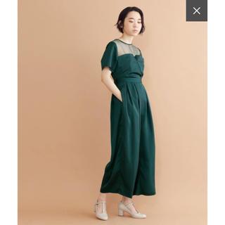 merlot - ビスチェ風シースルー切替オールインワン 結婚式 パーティ ドレス