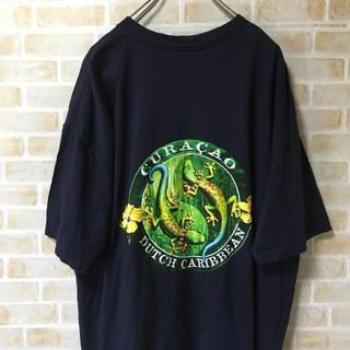 USA 古着 90s トカゲ プリント Tシャツ キュラソー 2XL ビッグT