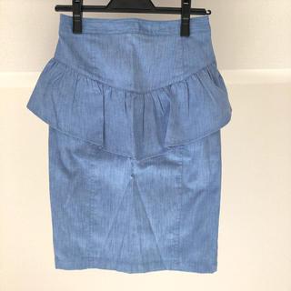 リリーブラウン(Lily Brown)のリリーブラウン デニム ペプラムスカート ブルー(ひざ丈スカート)