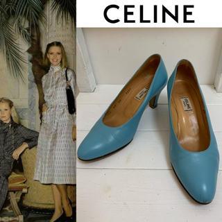セリーヌ(celine)のCELINE PARIS VINTAGE イタリア製 レザーヒールパンプス 37(ハイヒール/パンプス)