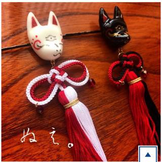 フリフ(ふりふ)の【ぬえ。】守護・狐憑き髪飾り(紅)(ヘアアクセサリー)