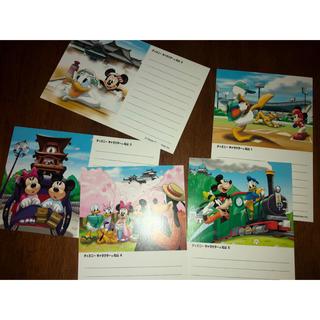 ディズニー(Disney)のディズニーキャラクターハガキ5枚(使用済み切手/官製はがき)