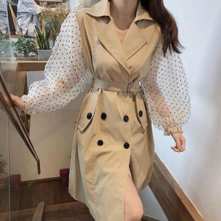 ♡ trench puff sleeve one-piece ♡