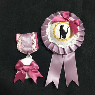 フェリシモ(FELISSIMO)のフェリシモ  刺繍ブローチ(黒猫)(ブローチ/コサージュ)