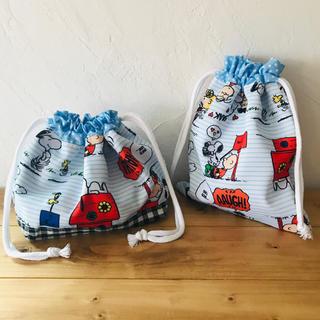スヌーピー(SNOOPY)の《handmade》お弁当袋 巾着袋セット(外出用品)