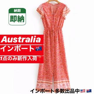 ロンハーマン(Ron Herman)の日本未入荷 オーストラリア インポート オールインワン 赤 レッド ボヘミアン(オールインワン)