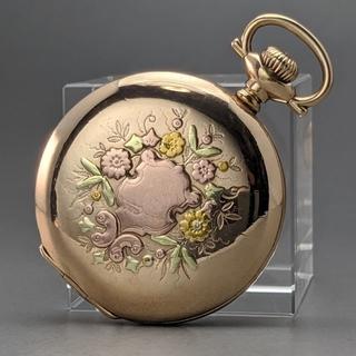 エルジン(ELGIN)の1921年 アンティーク 動作良好 エルジン 美麗 金張りマルチカラー 懐中時計(その他)