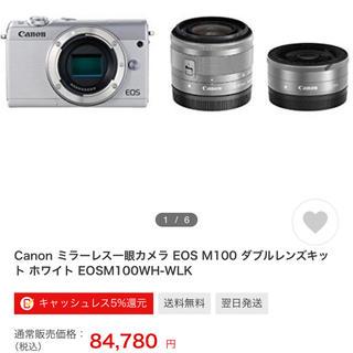 キヤノン(Canon)のCanon EOS M100 【Wレンズキット+保護フィルム付】(デジタル一眼)