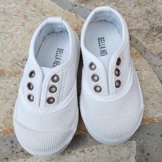 韓国子供靴 白 スリッポン 14cm~15cm(スリッポン)