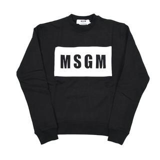 エムエスジイエム(MSGM)のMSGM BOXロゴブラック スウェットトレーナーS(トレーナー/スウェット)