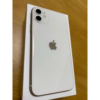 アイフォーン(iPhone)のiPhone11 本体 ホワイト 64GB SIMフリー iFaceカバー付★(スマートフォン本体)