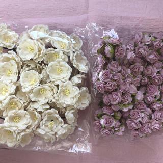 【momokaorin様専用】ペーパーフラワー バラ 薄ピンク、白(各種パーツ)