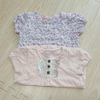 ビケット(Biquette)の90cm トップス  ピンク  花柄(Tシャツ/カットソー)