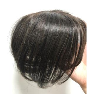 前髪ウィッグ 3D増毛 白髪隠しヘアピース100%人毛総手植えダークブラウン(前髪ウィッグ)