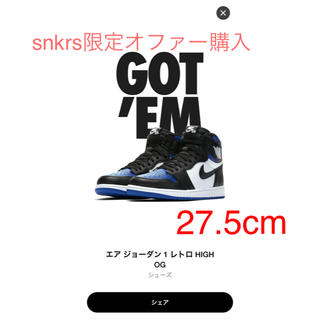 ナイキ(NIKE)のNike AIR Jordan 1 Royal Toe 27.5cm(スニーカー)