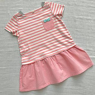 クーラクール(coeur a coeur)の女の子ボーダー半袖ピンク95リボン.グリーン重ね着風レイヤード(Tシャツ/カットソー)