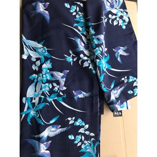 ふりふ - セオアルファ 撫松庵 新品 しつけ付 浴衣 ゆかた 花 鳥 ぶしょうあん紺 青