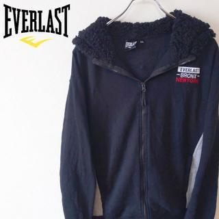 エバーラスト(EVERLAST)の【EVER LAST】ブランドロゴ付き ボア付きパーカー ブラック(パーカー)