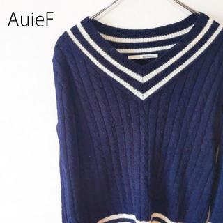 アウィーエフ(AuieF)の【AuieF】ケーブル編み ライン入りデザイン Vネックセーター ネイビー(ニット/セーター)