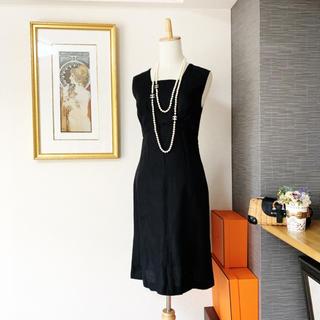 シャネル(CHANEL)の美品 シャネル リネン リトルブラック ワンピース ドレス(ひざ丈ワンピース)