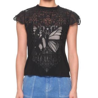 ヒステリックグラマー(HYSTERIC GLAMOUR)のヒステリックグラマー  BUTTERFLY WOMAN レースTシャツ(Tシャツ(半袖/袖なし))