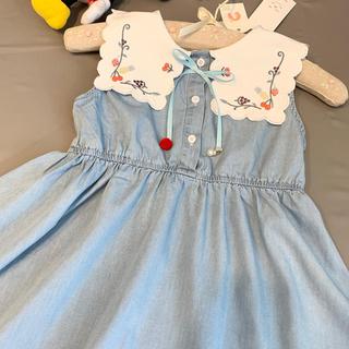 新作 冷感薄手デニム 白襟 リボン さくらんぼ いちご刺繍 ワンピース ブルー(ワンピース)