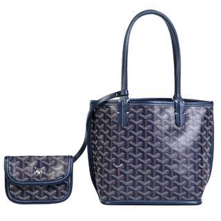 ゴヤール(GOYARD)のトートバッグ 両面使える リバーシブル レディース 軽量 ミニサイズ 紺色(トートバッグ)