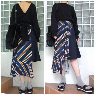 アウラアイラ(AULA AILA)のアウラ バイアスストライプスカート ロングスカート スカート(ロングスカート)