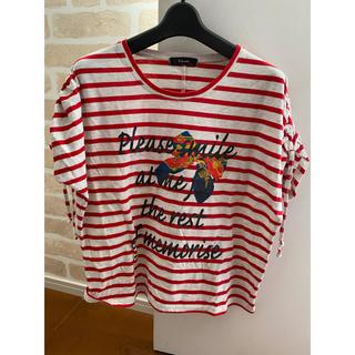 レッドボーダーレディースシャツ(Tシャツ(半袖/袖なし))