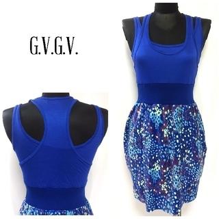 ジーヴィジーヴィ(G.V.G.V.)のG.V.G.V レイヤード タイト ミニ ワンピース 青 レディース(ミニワンピース)