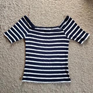 ラグナムーン(LagunaMoon)のLaguna moon の ボーダー リブ トップス(Tシャツ(半袖/袖なし))