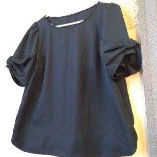 Couture Brooch - クチュールブローチ**ネイビー トップス 袖リボン
