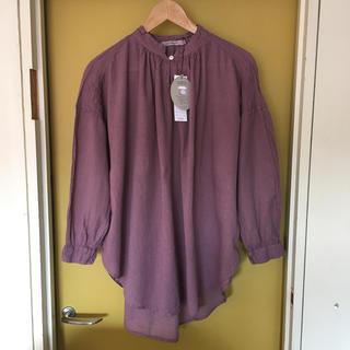 サンバレー(SUNVALLEY)のsunvalley   ボイル日本製品染スキッパーシャツ(パープル)    新品(シャツ/ブラウス(長袖/七分))