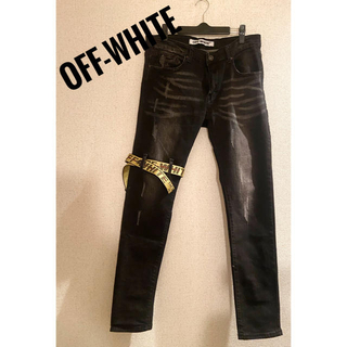 オフホワイト(OFF-WHITE)の美品‼︎Off-White 正規品 オフホワイト ブラックデニムパンツ33(デニム/ジーンズ)