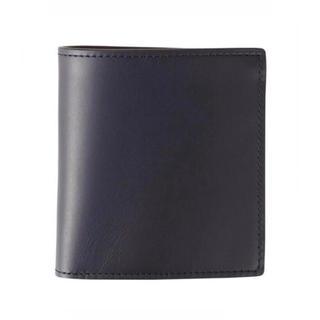 ムジルシリョウヒン(MUJI (無印良品))のMUJI(無印良品)イタリア産ヌメ革     二つ折り財布【ネイビー】新品未使用(財布)