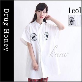 ファンキーフルーツ(FUNKY FRUIT)の【DrugHoney】パンダ幽霊刺繍スタンドカラーシャツ 白 ドラッグハニー(シャツ/ブラウス(半袖/袖なし))